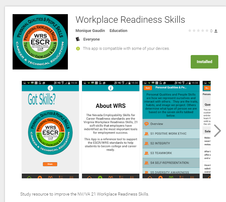 Workplace Readiness Skills App in Google Play Store