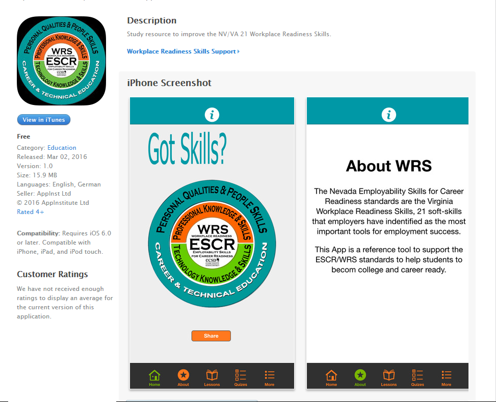 Workplace Readiness Skills App in iTunes Store